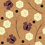 Summer seamless pattern with butterflies and flowers Stock Photos
