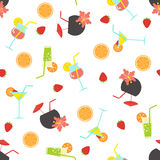 Summer seamless pattern with coctails. Royalty Free Stock Photo