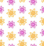 Summer Seamless Pattern with Colorful Flowers Royalty Free Stock Photo