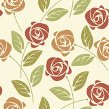 Summer seamless pattern with colorful roses and leaves on ivory Royalty Free Stock Photos