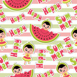 Summer seamless pattern with cute girl and watermelon on striped background  cartoon for summer wallpaper Stock Image