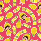 Summer seamless pattern with cute pineapple girls on pink background  cartoon for summer wallpaper Royalty Free Stock Photo