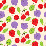 Summer seamless pattern with cute smiling  gooseberries, strawbe Royalty Free Stock Image