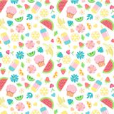 Summer seamless pattern with summer day food elements clip art set Royalty Free Stock Image