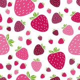 Summer seamless pattern with delicious juicy strawberries on white background. Can be used in your project or printing Royalty Free Stock Photos