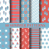 Summer seamless pattern. 10 different summer patterns, Swatches, vector, Endless texture can be used for wallpaper, pattern fills, web page,background,surface Royalty Free Stock Photos