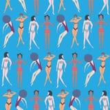 Summer seamless pattern of doodled women Stock Photo