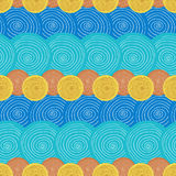 Summer seamless pattern. Ethnic background with circles. Textile or wrapping design. Stock Images