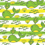 Summer seamless pattern with fish, whale and shell Stock Photos