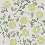 Summer seamless pattern with flowers and leaves on light grey ba Royalty Free Stock Image