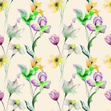 Summer seamless pattern with flowers. Watercolor illustration Stock Photo