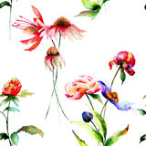 Summer seamless pattern with flowers Stock Images