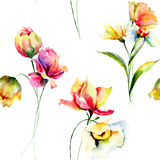 Summer seamless pattern with flowers Royalty Free Stock Images