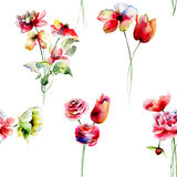 Summer seamless pattern with flowers Royalty Free Stock Image