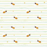Summer seamless pattern with flying bees on stripped green background. Vector stock illustration