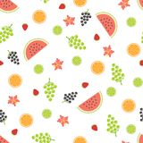 Summer seamless pattern with fruits. Royalty Free Stock Images