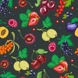 Summer seamless pattern with garden berries on a dark background Stock Photos