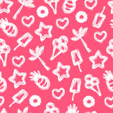 Summer seamless pattern with hand-drawn element stock illustration