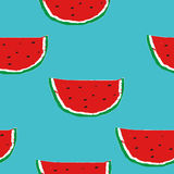 Summer seamless pattern with hand drawn watermelon on the turquoise background Royalty Free Stock Image