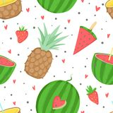Summer seamless pattern with ice cream. Dots, strawberries, hearts. Can be used as wrapping paper, fabric, wallpaper, background  design Royalty Free Stock Images