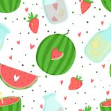 Summer seamless pattern with ice cream, fruits, dots, strawberries, hearts. Summer seamless pattern with ice cream, fruits, strawberries and other summer Royalty Free Stock Image