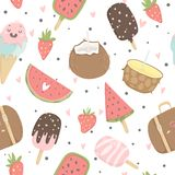 Summer seamless pattern with ice cream, fruits, dots, strawberries, hearts. Summer seamless pattern with ice cream, fruits, strawberries and other summer Stock Photography