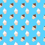 Summer Seamless Pattern with Ice Cream. Stylized Summer Elements with dropped shadows. Vector Illustration. Summer Collection. Eps 10 Royalty Free Stock Photo