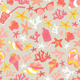 Summer seamless pattern with ice-cream, suglases, cocktail,  starfish, coral, flip flop sandals. Stock Images