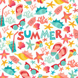 Summer seamless pattern with ice-cream, suglases, cocktail, starfish, coral, flip flop sandals. Royalty Free Stock Image