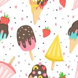 Summer seamless pattern with ice cream. Dots, strawberries, hearts. Can be used as wrapping paper, fabric, wallpaper, background  design Stock Photos