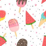 Summer seamless pattern with ice cream. Dots, strawberries, hearts. Can be used as wrapping paper, fabric, wallpaper, background  design Royalty Free Stock Photography