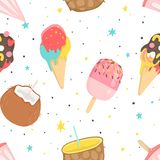 Summer seamless pattern with ice cream. Dots, strawberries, hearts. Can be used as wrapping paper, fabric, wallpaper, background  design Royalty Free Stock Photos