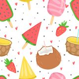 Summer seamless pattern with ice cream. Dots, strawberries, hearts. Can be used as wrapping paper, fabric, wallpaper, background  design Stock Image