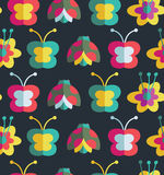 Summer seamless pattern with insects and flowers Stock Images