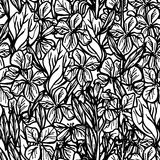 Summer seamless pattern, leaves and flowers, sketch, black outline on white background. Vector Stock Photos