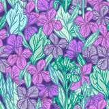 Summer seamless pattern, leaves and flowers, sketch, lilac purple blue green outline on dark background. Vector Royalty Free Stock Photos