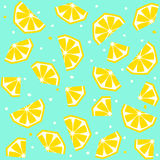 Summer seamless pattern with lemon, vector background Stock Images