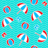 Summer seamless pattern. With parasol, ball, flip-flops. Vector illustration Royalty Free Stock Photography