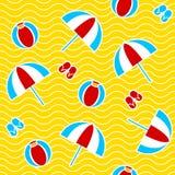 Summer seamless pattern. With parasol, ball, flip-flops. Vector illustration Stock Photos
