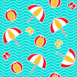 Summer seamless pattern. With parasol, ball, flip-flops. Vector illustration Royalty Free Stock Photos