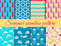 Summer seamless pattern. Pattern with a lighthouse, marine fauna. Set of seamless patterns, vector Royalty Free Stock Image