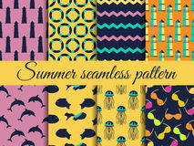 Summer seamless pattern. Pattern with a lighthouse, marine fauna. Set of seamless patterns. Vector Royalty Free Stock Photos