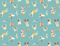 Summer seamless pattern. People swimming in the sea. Vector illustration. Royalty Free Stock Photography