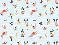 Summer seamless pattern. People swimming in the sea. Vector illustration. Stock Images