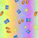 Summer patterns. Summer seamless pattern. photo camera, beach shoes on bright colorful background vector illustration