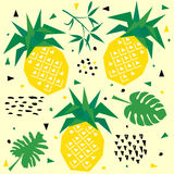 Summer seamless pattern with pineapple, vector background Stock Images