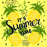 Summer seamless pattern with pineapple, vector background Stock Photos