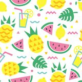 Summer seamless pattern with pineapple, watermelon slice, lemon, cocktail and monstera leaves. Fashion print design, vector background vector illustration