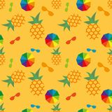 Summer seamless pattern pineapples, umbrellas and glasses. Vector summer seamless pattern pineapples, umbrellas and glasses stock illustration