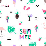 Summer seamless pattern with pink flamingos, ice cream, strawberry Stock Images